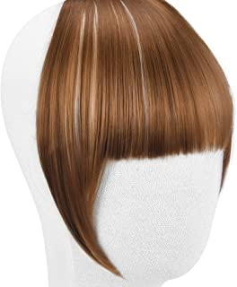 REECHO Fashion One Piece Clip in Hair Bangs/Fringe/Hair Extensions (Full Length Bangs, Dark Brown and Light blonde Mixed)