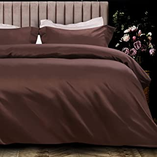 NTBAY 3 Pieces Silky Satin Duvet Cover Set Solid Color, Ultra Luxury and Soft, Hidden Zipper Design Queen Brown 20180521St...