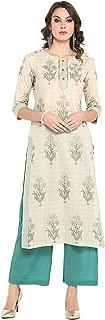 Janasya Women's Off White Cotton Kurta With Palazzo