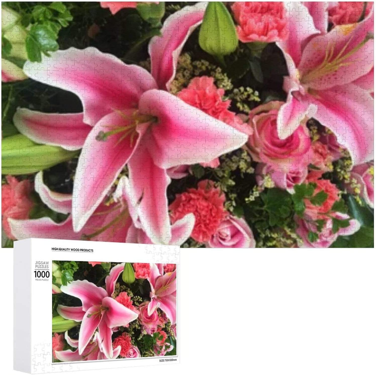 Close Pink Lily Flowers 67% OFF of fixed price Around - 1000 Jigsaw Puzzles Rare for Adults