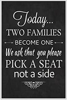Today Two Families Become One Wedding Sign Poster