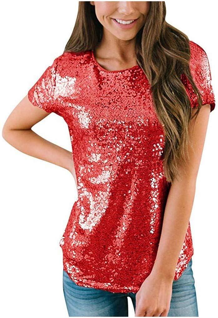 YOMXL Women's Sparkle Max 83% OFF Sequin Top Short Gli O Neck Shimmer Sleeve Albuquerque Mall