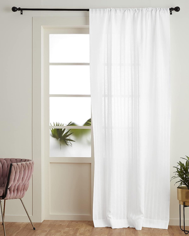 Free Shipping New Solino Home Zoe 5 ☆ popular Sheer Curtain – 52 Pocket Window Inch Rod x 63