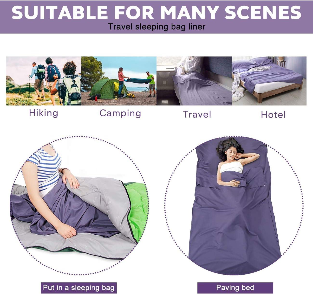 ASOOX Sleeping Bag Liner Cotton Lightweight Premium Comfortable Compact Camping Sheet Sleeping Bag Sack for HotelsTravel Backpacking Hiking Sleeping Sheet Travel Sack with Storage Bag