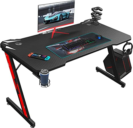 Amazon.com: Homall Gaming Desk 44 Inch Computer Desk Gaming Table Z Shaped Pc Gaming Workstation Home Office Desk with Carbon Fiber Surface Cup Holder and Headphone Hook (Black, 44 inch) : Home