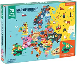"""Mudpuppy Map of Europe Puzzle, 70 Pieces, 22""""x17.25"""" – Perfect for Kids Age 5-9 - Learn Countries of Europe by Name, Shape, Location – Double-Sided Geography Puzzle with Pieces Shaped as Countries"""