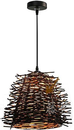 GRFH Creative Café Bar Chandelier Rattan Tissage Bird's Nest Pendentif E27 110V 220V Nouveau, b
