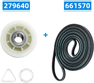 279640 Idler Pulley & 661570 Drum Belt Dryer Replacement Part Set - Compatible with Whirlpool Kenmore Dryer - Pulley for 3388672/697692/AP3094197/W10468057, Belt for 3387610/3389728/661570VP