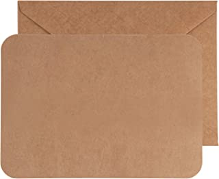 48-Pack Blank Greeting Cards - Plain Cardstock Postcard Style Notecards - Rounded Corners, Envelopes Included for DIY Holiday Cards, Business, Invitation, Birthday, Wedding, Kraft Brown, 5 x 7 Inches