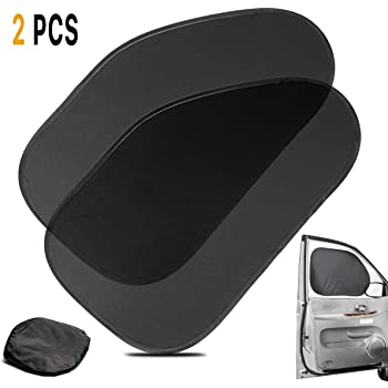 Zone Tech Side Window Cling On Sun Shades- 2-Pack Premium Quality Mesh Car Pop-Up Non Suction Cups Needed Sunshade- Protects Kids, Baby and Pets from Sun,Glare and UV Rays-Perfect for Car, Van, SUV