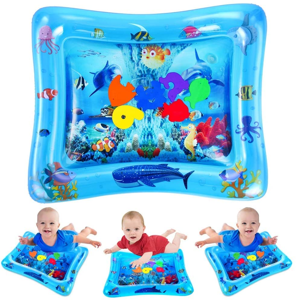 VATOS Tummy Time Baby Water Play Mat Toys for 3 6 9 Months Newborn Infant&Toddlers, Inflatable Sensory Toys Gifts for Boy Girl  BPA Free Infant Early Development Activity Centers