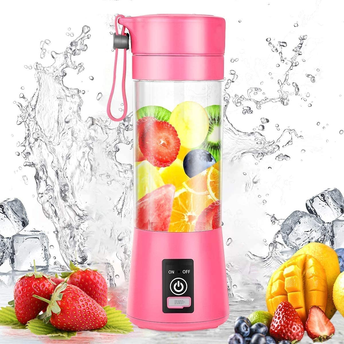 Portable Blender, 13oz Six 3D Juice cup, Personal Mixer Fruit Rechargeable with USB, Mini Blender Shakes And Smoothies Portable Smoothie Blender (Pink Appearance)