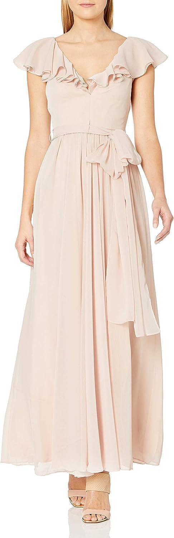 Jill Jill Stuart Women's V Neck Ruffle Gown