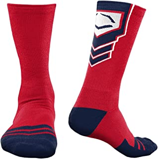 EvoShield Performance Crew Socks 2.0 (Red/Blue/White, Large)