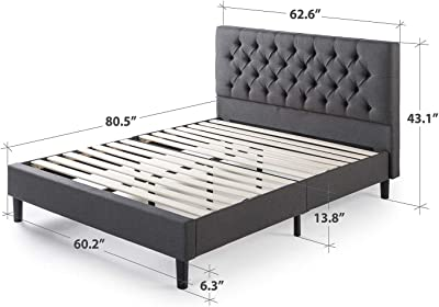 Amazon.com: Zinus Jade Faux Leather Upholstered Platform Bed ...