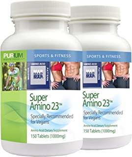 Purium Super Amino 23 (2 Pack) - 150 Vegan Tablets - BCAA & Essential Amino Acid Dietary Supplement, Pre Workout, Recovery...
