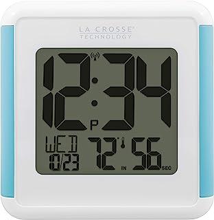 ساعة استحمام بيضاوية مقاومة لرذاذ الماء بتقنية La Crosse 515-1912-INT مع درجة الحرارة والرطوبة، باللون الأبيض