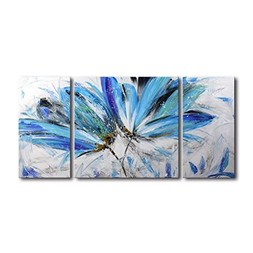 White And Blue Flower Painting Amazon Com