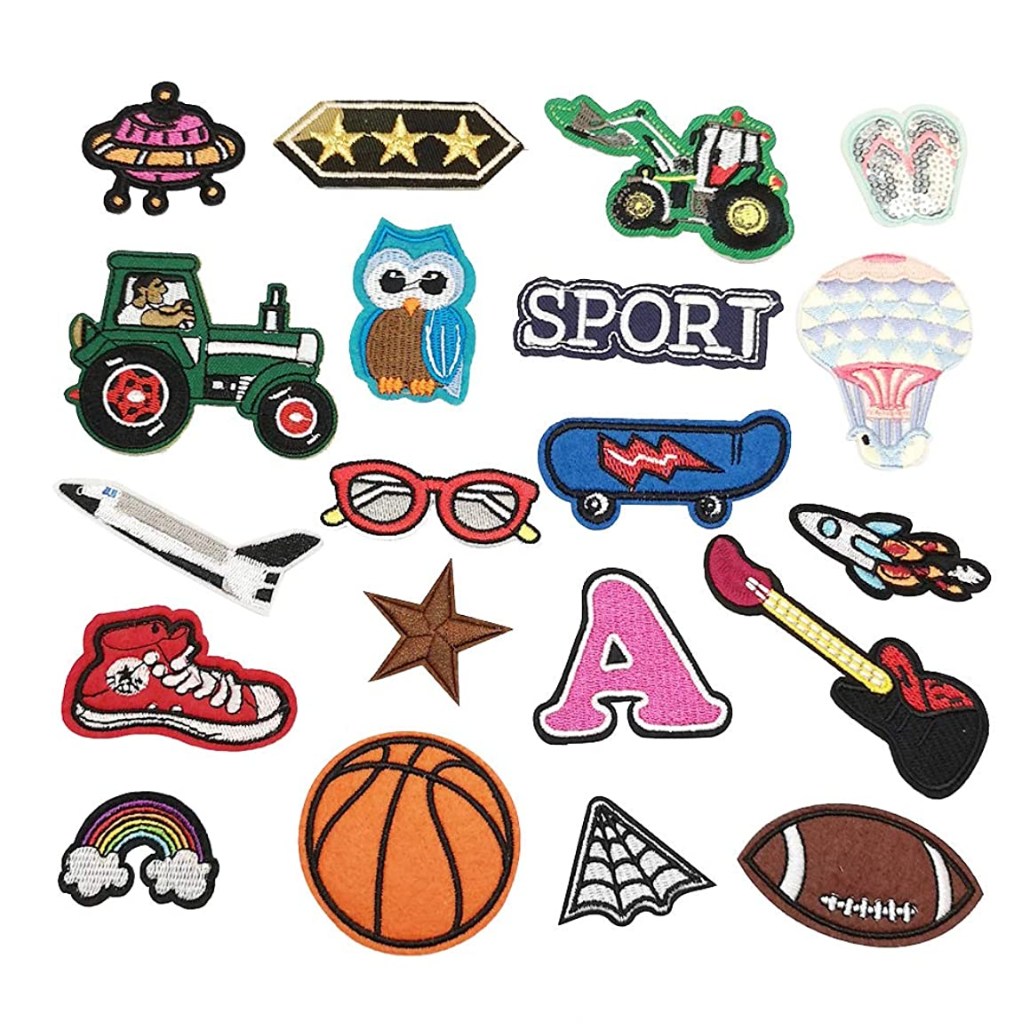 Niangzisewing Assorted of 20pcs for Boy Iron on sew on Patches Dress Plant Backpack Hat Decoration (All for Boys, from 1
