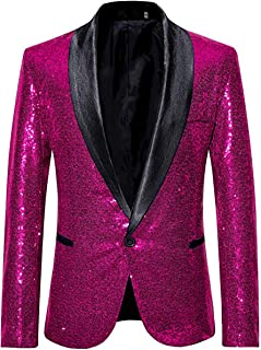 Leader of the Beauty Mens Shawl Lapel Sequin Prom Jacket One Button Casual Coat Slim Fit Suit Blazer Wedding Prom Tuxedo