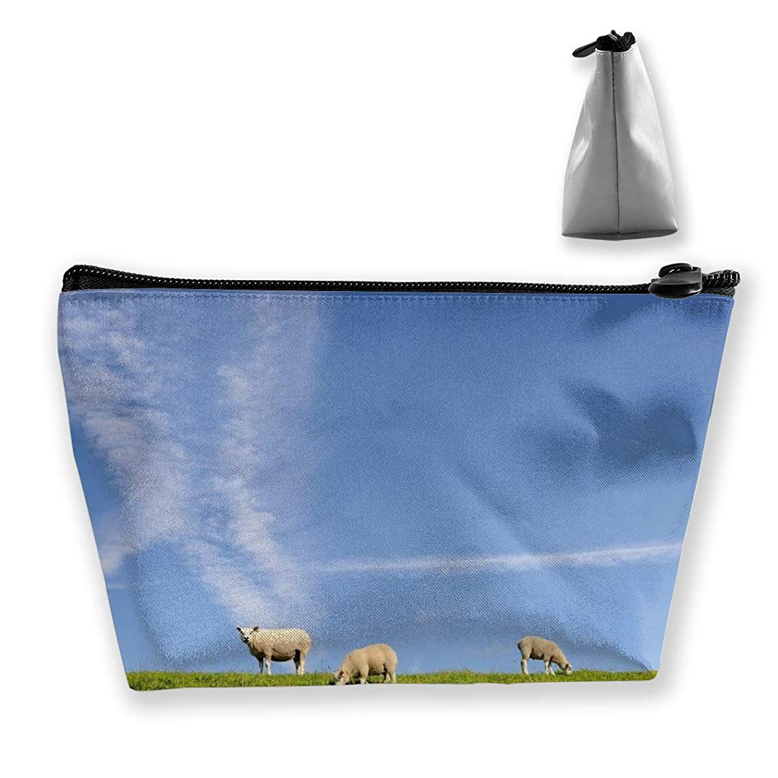 Trapezoidal Cosmetic Bags Makeup Toiletry Pouch Sheep On Glassland Travel Storage Bag Phone Purse