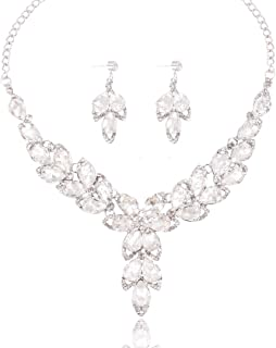 Yuhuan Women's Wedding Necklace and Earrings Bridal Statement Jewelry Set