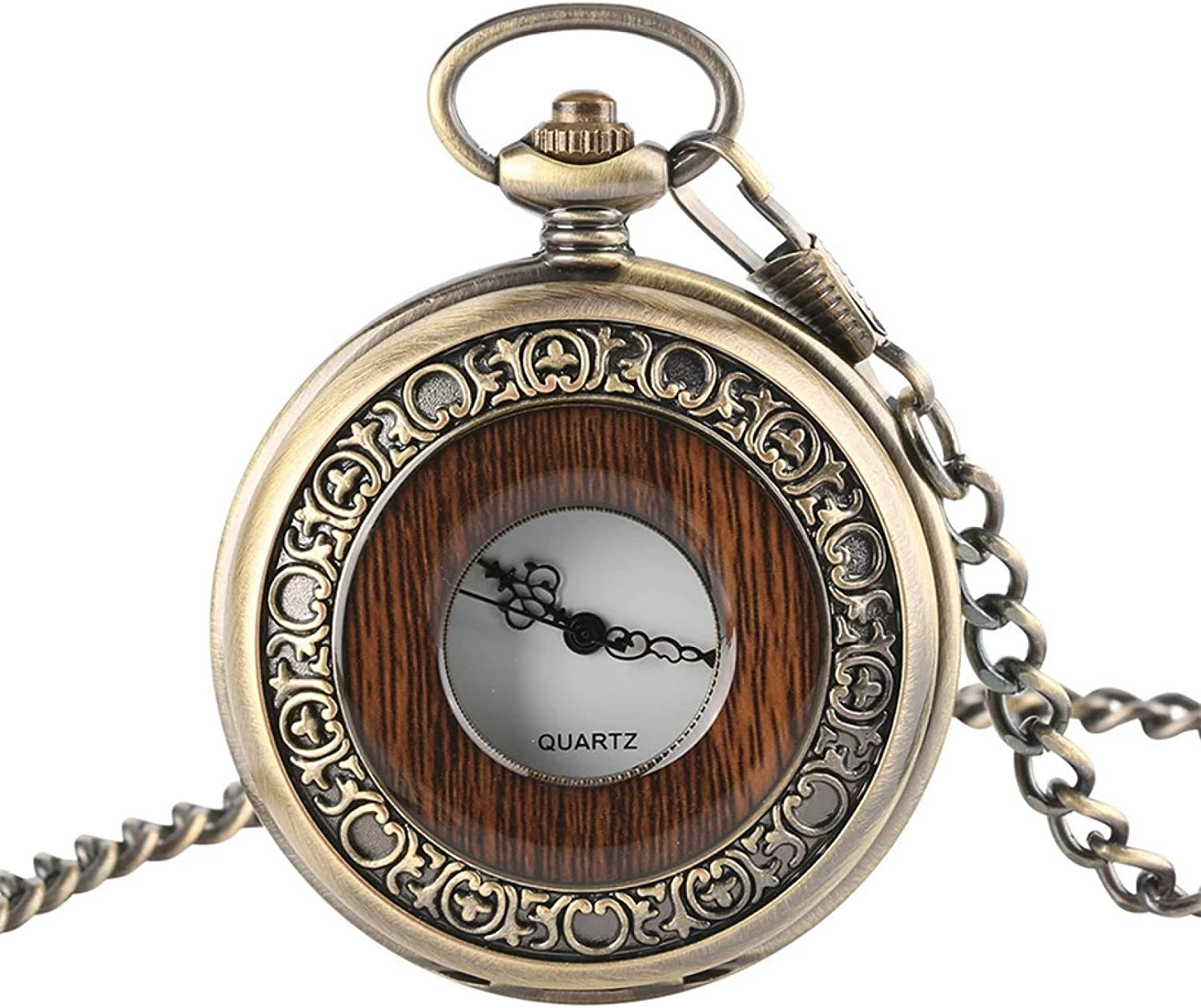 BOZNY Pocket Watch Antique Bronze Hollow Red Display SALENEW very popular Circle Wood outlet