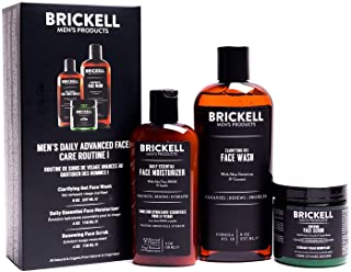 Brickell Men's Daily Advanced Face Care Routine I, Gel Facial Cleanser Wash, Face Scrub, Face Moisturizer Lotion, natuurli...