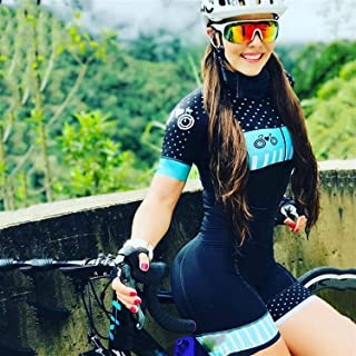 with Cycling Suit Pro Team Triathlon Set Women's Cycling Jersey One Piece Jumpsuit Short Sleeve Set Gel Pad (Color : 2, Si...