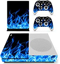 SKINOWN Xbox One S Slim Skin Blue Fire Blue Flame Sticker Vinly Decal Cover for Xbox One S(XB1 S) Console and 2 Controller...