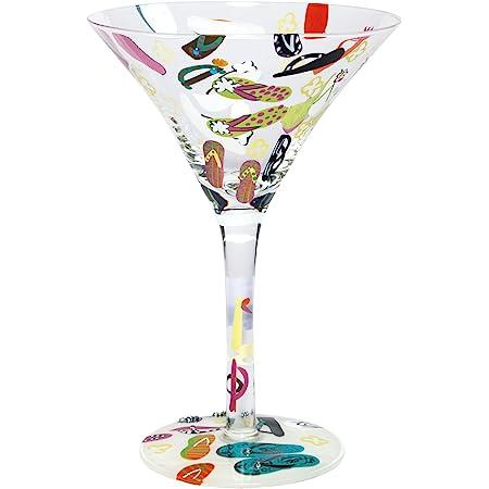 "New Lolita Hand Painted ""Flip Flops"" Martini Glass in Original Box with Recipe!"
