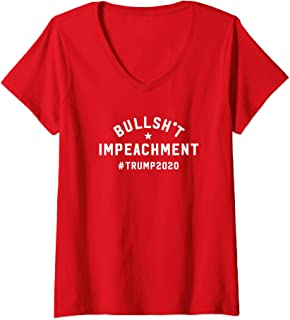Womens Bullshit Impeachment 2020 Trump Rally V-Neck T-Shirt