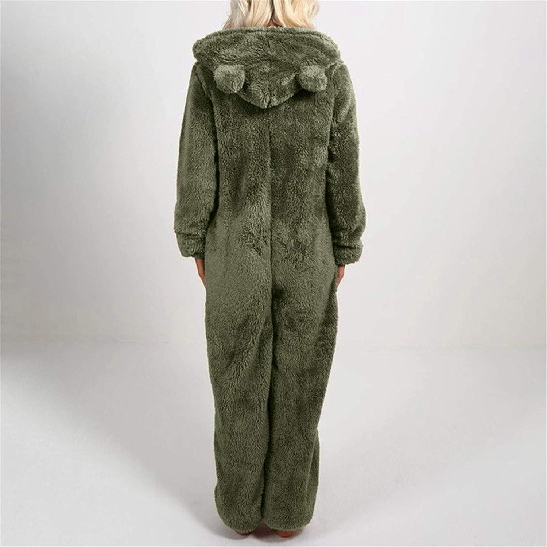 SALIFUN Women Long Sleeve Hooded Cute Jumpsuit Pajamas Casual Warm Rompe Sleepwear Winter