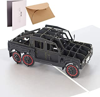 Handmade 3D Pop Up Cards - Jeep Handmade Pop Up Greeting Card for Your Loved Ones, Wedding Anniversary Card for Couple, Valentine Day, Happy Birthday Cards