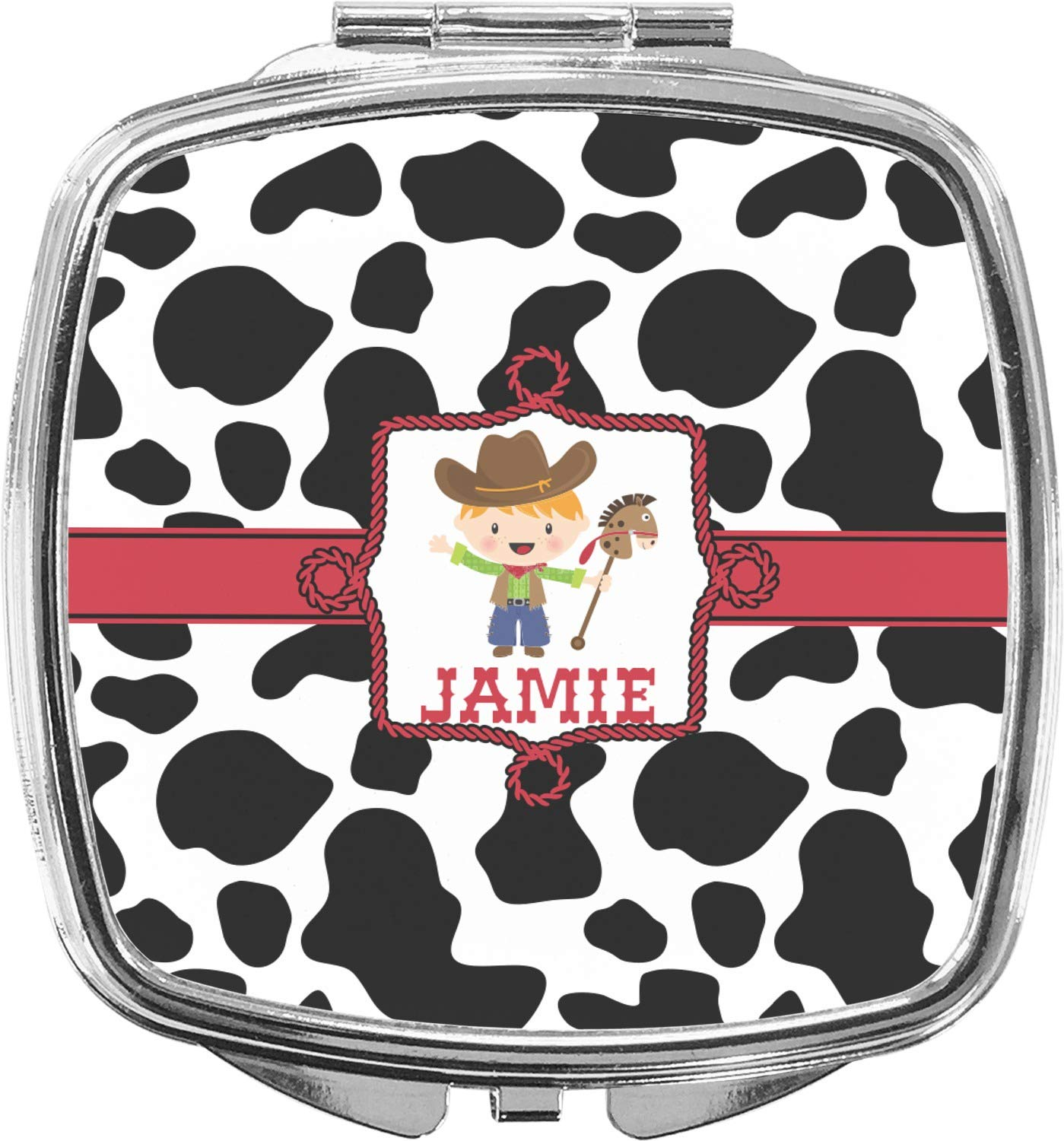 A surprise price is realized Cowprint w Cowboy Compact Personalized Mirror Very popular Makeup
