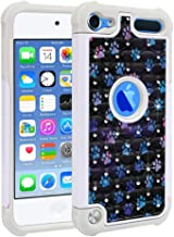 FINCIBO Case Compatible with Apple iPod Touch 5 6 7th Gen 2019, Dual Layer Shock Proof Hybrid Protector Case Cover TPU Sparkle Rhinestone Bling for iPod Touch 5 6 7 - Blue Little Dog Paws Galaxy
