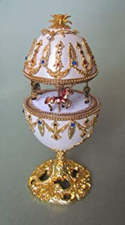 Hand Painted Faberge Egg Style Decorative Hinged Jewelry Trinket Box Unique Gift Home Decor, Authentic Goose Egg, Music Box, Kingspoint Design #30601,