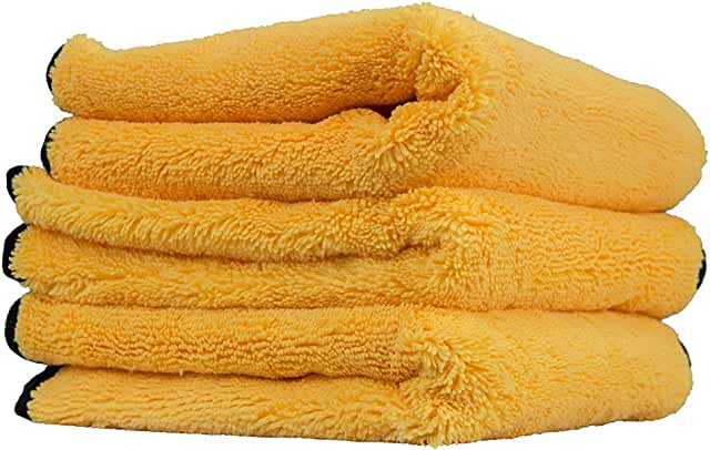 Stack of yellow microfider towels.