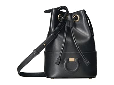 Salvatore Ferragamo Small City Bucket Bag (Nero) Handbags