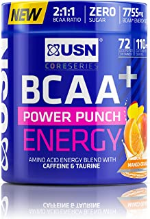 USN Bcaa Power Punch + Energy, Amino Acid Energy Blend with Caffeine and Taurine, Mango-Orange, 400 g