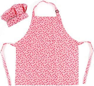 CRJHNS Kids Apron and Chef Hat Set, Adjustable Cotton Child Aprons with 2 Pockets Cute Girls Boys Kitchen Bib Aprons for Cooking Baking Painting (Large, Pink)