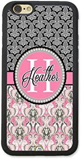 iPhone 8 Case, iPhone 7 Case, ArtsyCase Pink Grey Damask Fleur De Lis Monogram Personalized Name Phone Case for iPhone 7 and iPhone 8 (Black)
