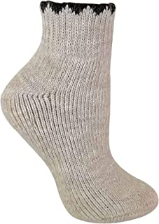 Womens Thick Winter Short Low Cut Alpaca Wool Blend Hiking Socks for Ankle Boots