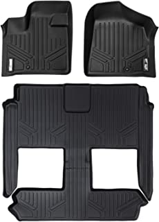 MAXLINER Floor Mats 3 Row Liner Set Black for 2008-2018 Dodge Grand Caravan/Chrysler Town & Country (Stow'n Go Only)