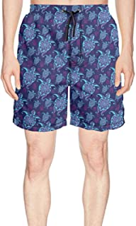 Mens Print Swim Trunks Hawaiian Turtle Blue Background Quick Dry Breathable Pockets Mesh Lining Beach Board Shorts