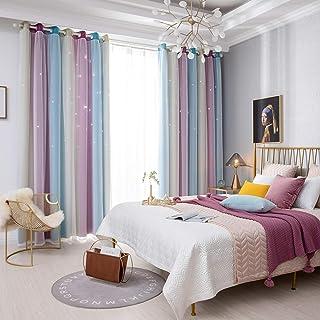 Rideaux Occultants Étoiles Colorées pour Enfants Filles, 2 panneaux Double couche Thermiques Isolants Rideaux- Décoration ...