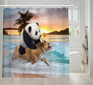 NYMB Funny Animals Shower Curtain, Hippie Style Cool Panda Ride Pug Dog Running in Beach Bath Curtain, Waterproof Fabric Bathroom Decor Set with Shower Hooks, 69X70 Inches