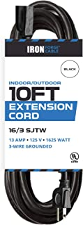 10 Ft Outdoor Extension Cord - 16/3 Durable Black Cable - Great for Christmas Lights