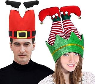 CREPRO 2 Pack Christmas Santa and Elf Pants Hats, Elf Hats for Adults, Novelty Christmas Hats for Christmas Ugly Sweater P...