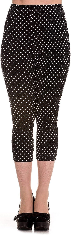Hell Bunny Black Kay Polka Dot 50s Vintage Style Capri Trousers 3 4 Pedal Pushers